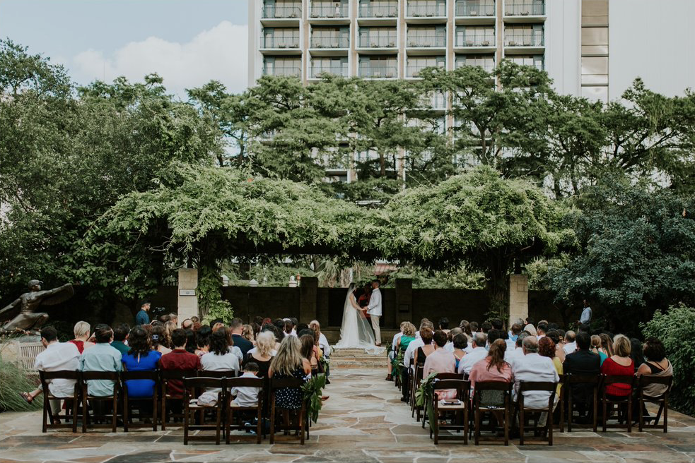 A wedding couple is getting married at the Jack Guenther Pavilion in San Antonio.